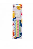 Свечи 2-х цветные тонкие 10,5 см с держателями 12 шт