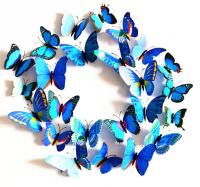 Бумажные бабочки для декора (магнит+клей),12 шт