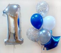 """Сет шаров """"1 годик"""", голубой"""