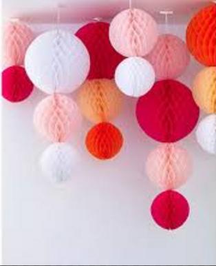 Бумажные шары соты красный цвет 20 см