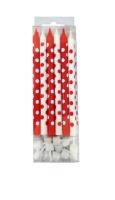 Свечи Красные и белые в горошек 12 шт с держателями 12см