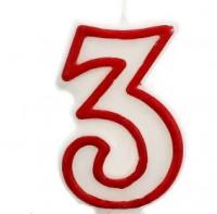 Свеча цифра 3 (красный ободок)