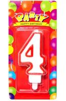 Свеча цифра 4 (красный ободок)