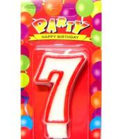 Свеча цифра 7 (красный ободок)