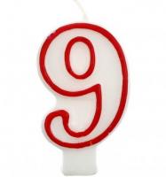 Свеча цифра 9 (красный ободок)