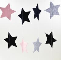 Подвеска Звезды, розовый-серебристый-черный, 210см